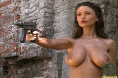ActionGirls Veronica Zemanova Fires Guns Topless 17