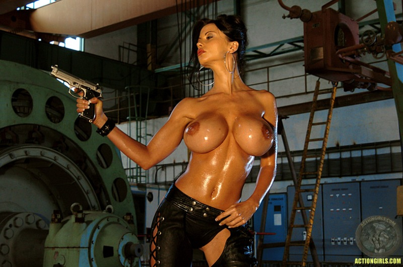 ActionGirls Veronica Zemanova Wields Gun Naked 09