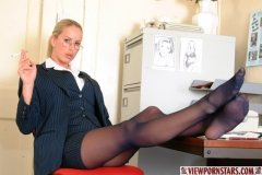 Adele Stephens Big Tits Boss in Pinstripe Miniskirt 002