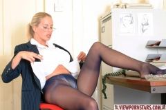 Adele Stephens Big Tits Boss in Pinstripe Miniskirt 005