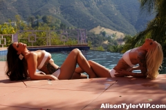Alison Tyler and Brooke have Baked Huge Boob Lesbian fun at the Pool 004