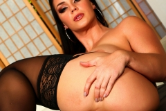Alison Tyler Big Boobs Black and Blue Silky Bra and Panties 010