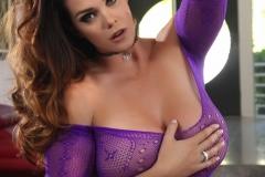 Alison Tyler Big Boobs in Purple Fishnet Bodystocking 004