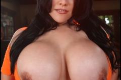 Ana Rica Huge Boobs in Orange Top 015