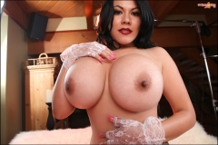 Ana Rica Huge Boobs in Red Bra and Panties 028