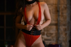 Anastasia Harris Nice Boobs in Red One Piece with Heels 007