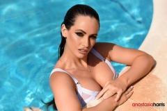 Anastasia Harris Nice Boobs White Bikini at the Pool 01