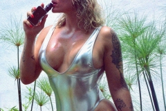 Andrea Garcia Big Hot Tits in Silver Swimsuit 001
