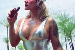 Andrea Garcia Big Hot Tits in Silver Swimsuit 002