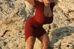 Aneta Buena Huge Tits Come out of Tight Red Dress 001