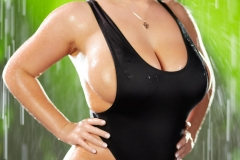 Angela White Huge Tits Get Wet in Black Swimsuit 004
