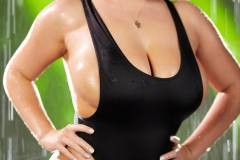 Angela White Huge Tits Get Wet in Black Swimsuit 005