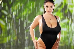 Angela White Huge Tits Get Wet in Black Swimsuit 007