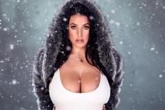 Angela White Huge Tits Get Wet in Black Swimsuit 013