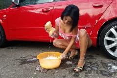 Anisyia Big Tits and Pink Frilly Panties Wash a Car 002