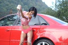 Anisyia Big Tits and Pink Frilly Panties Wash a Car 011