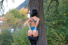 Anisyia Big Tits Tight Leather Trousers in the Forest 003
