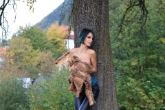Anisyia Big Tits Tight Leather Trousers in the Forest 018