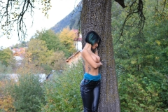 Anisyia Big Tits Tight Leather Trousers in the Forest 025