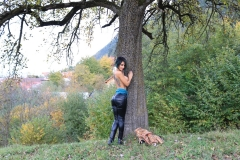 Anisyia Big Tits Tight Leather Trousers in the Forest 027