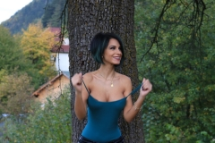 Anisyia Big Tits Tight Leather Trousers in the Forest 038