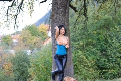 Anisyia Big Tits Tight Leather Trousers in the Forest 047