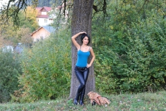 Anisyia Big Tits Tight Leather Trousers in the Forest 064