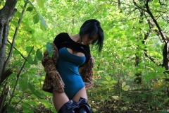 Anisyia Big Tits Tight Leather Trousers in the Forest 070