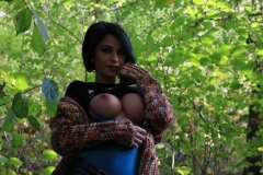 Anisyia Big Tits Tight Leather Trousers in the Forest 083