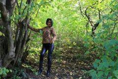 Anisyia Big Tits Tight Leather Trousers in the Forest 099