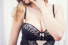 Annia Miller Big Boobs in Black Lacy Lingerie 007
