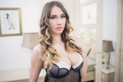 Annia Miller Big Boobs in Black Lacy Lingerie 010