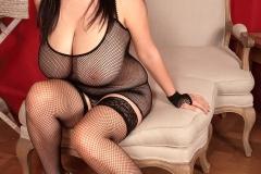 Arianna Sinn Huge Boobs  Fishnet Black Lingerie 001