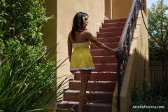 Ariella Ferrera Big Boobs Come out of Yellow Dress 004
