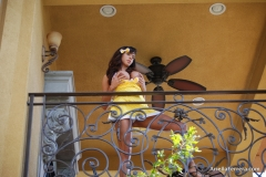 Ariella Ferrera Big Boobs Come out of Yellow Dress 008