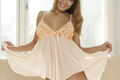 Athena Big Boobs Peach Seethrough Nightie for Body in Mind 001
