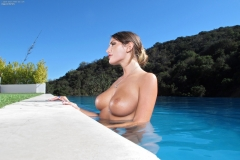 August Ames Big Tits White Top and Shorts 010