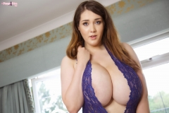 Bella Brewer Huge Tits Blue Lacy Minidress 004