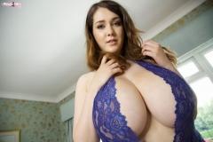 Bella Brewer Huge Tits Blue Lacy Minidress 005