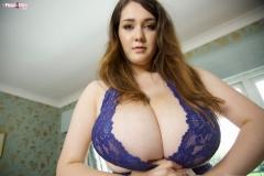 Bella Brewer Huge Tits Blue Lacy Minidress 007
