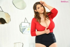 Bella-Brewer-Naked-Huge-Tits-Cleavage-Red-Top-and-Miniskirt-007