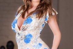 Booklyn Chase Huge Tits in Blue Flowery Minidress 006