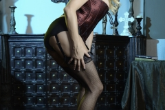 Briana Banks Big Boobs Maroon Corset Stockings and High Heels 002