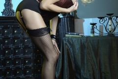 Briana Banks Big Boobs Maroon Corset Stockings and High Heels 004