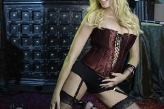 Briana Banks Big Boobs Maroon Corset Stockings and High Heels 006
