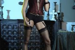 Briana Banks Big Boobs Maroon Corset Stockings and High Heels 012