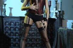 Briana Banks Big Boobs Maroon Corset Stockings and High Heels 014