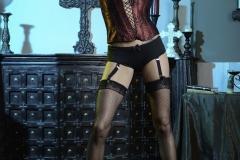 Briana Banks Big Boobs Maroon Corset Stockings and High Heels 015