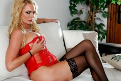 Briana Banks Big Boobs Red Teddy and Black Stockings 14