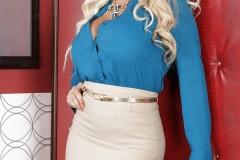Bridgette B Big Tit Blonde Secretary in Blue Shirt 002